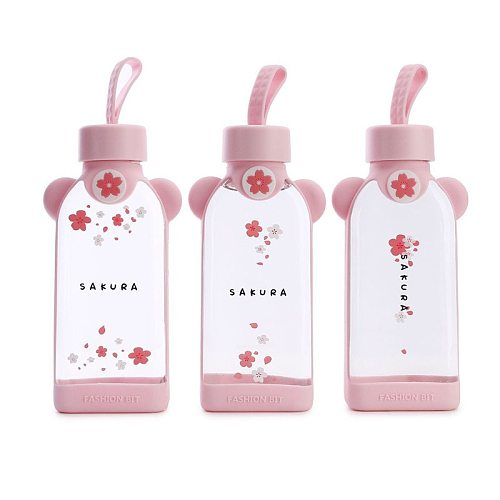 Han edition lovely portable cup glass cup female students creative square cup  kawaii mug  water bottle  cute glass cup