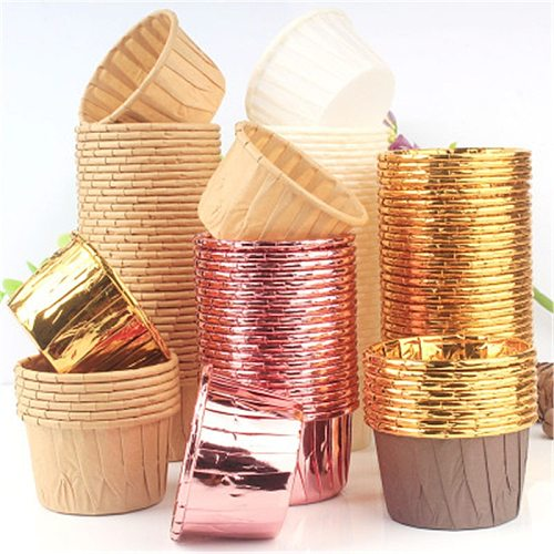 50pcs Golden Muffin Cupcake Paper Cup Oilproof Cupcake Liner Baking Cup Tray Case Wedding Party Caissettes Cupcake Wrapper Paper