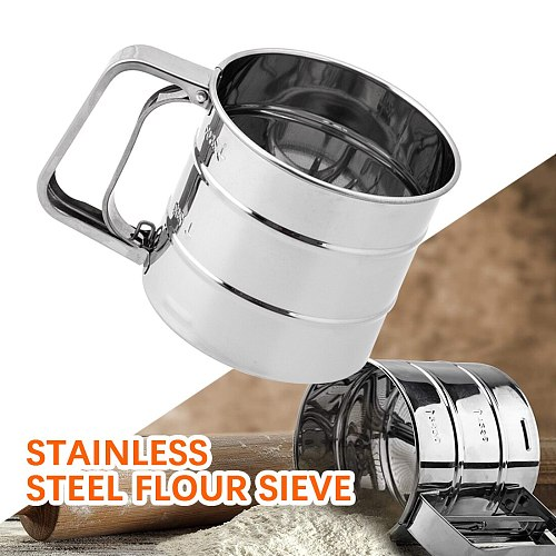 Stainless Steel Mesh Flour Sifter Mechanical Baking Icing Sugar Shaker Sieve Cup Shape Bakeware Baking Pastry Tools High Quality