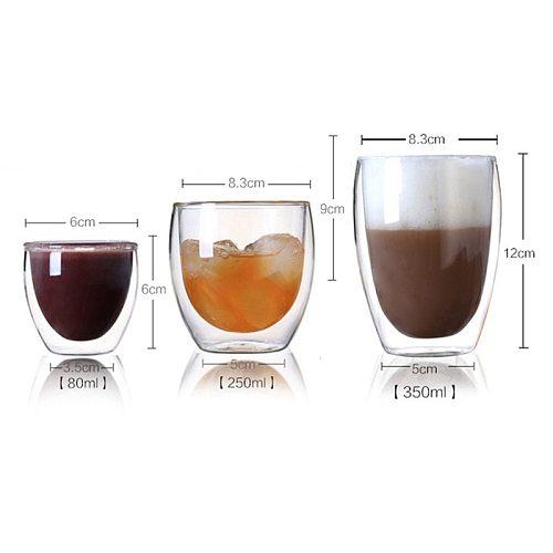 80/250/350ml Heat-resistant Double Wall Glass Cup Beer Coffee Cups Handmade Healthy Drink Mug Tea Mugs Transparent Drinkware