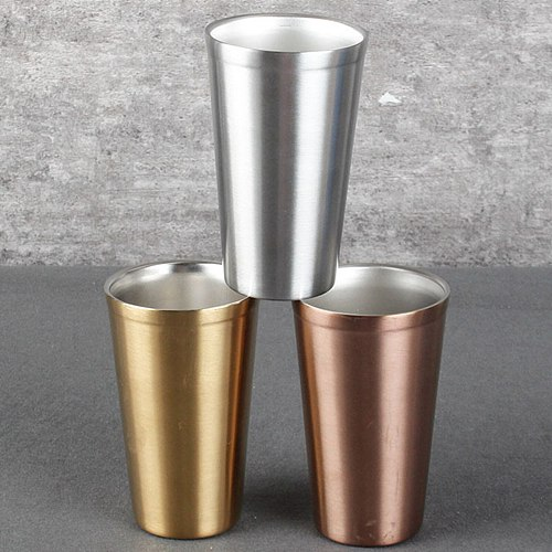 480ML 304 Stainless Steel Double-Layer Anti-Fall Drink Cup Beer Glass Water Mug Restaurant Bar Drinkware Party Water Cup