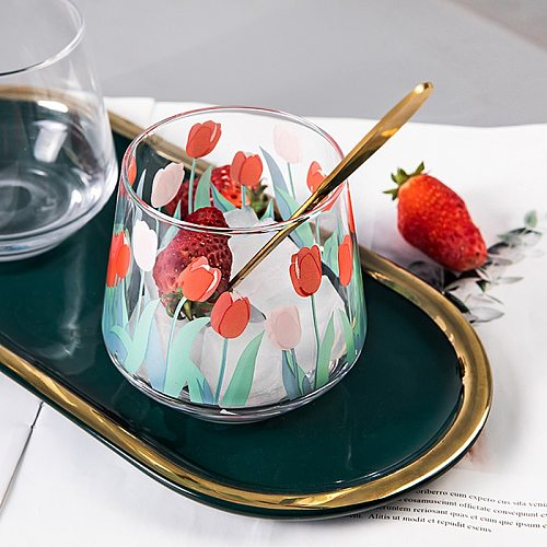 390ML Japan and South Korea ins hand-painted tulip flower glass household heat-resistant drinking cup big belly cup mousse cup