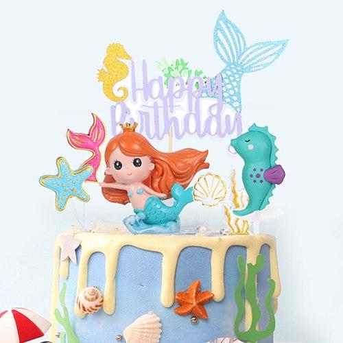 Birthday Cake Decoration Ocean Series Shell Mermaid Cake Topper Girl 1st Birthday Dessert Cake Decor Mermaid Wedding Party