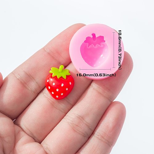 YF135 Strawberry Silicone Mold - Cupcake Topper Sugarcraft Candy Fondant Resin Jewelry Cabochon Pendant Molds