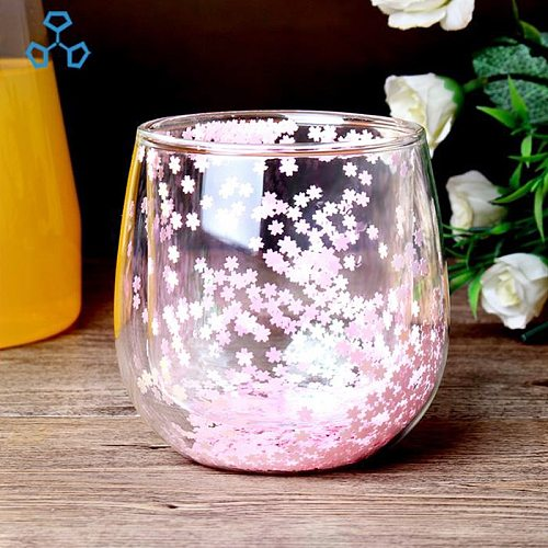 Coffee Mugs Double Bottom Heat-resistant Glass Cup Creative Sky Star Sequins Cup Whiskey Beer Milk Mug