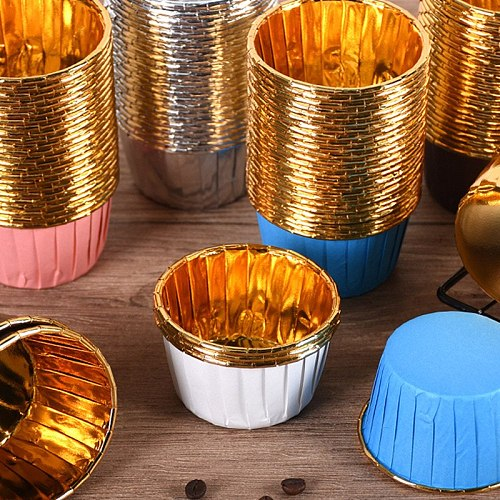 50/100pcs Aluminum Foil Cupcake Paper Cupcake Liner Baking Cups Muffin Cupcake Paper Cups NOV99