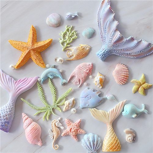 Fish Seaweed Dolphin Fondant Cake Mold Seahorse shell Mould Starfish for Kitchen Baking Decoration Molds Lovely Tool