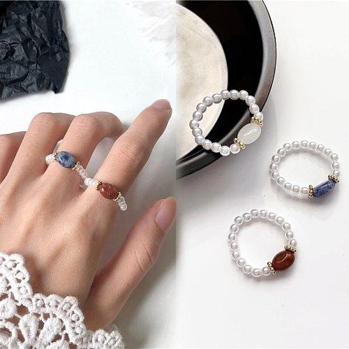 Bohemian Handmade Pearl Rings Women Synthetic Stone Bead Multi Color Finger Ring Wedding Promise Ring Vintage Jewelry Gifts
