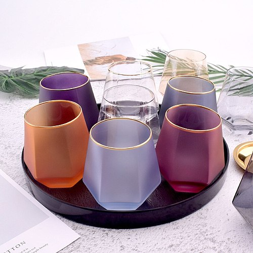 Creative Color Frosted Six Sided Whiskey Glass Spirits Glass Home Phnom Penh Water Glass Juice Cup Diamond Glass