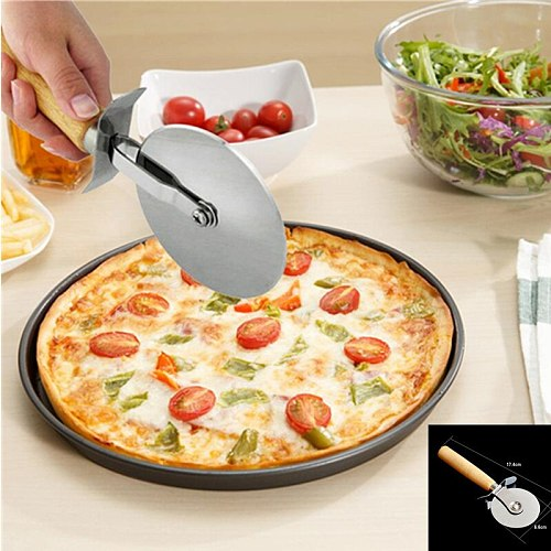 Stainless Steel Pizza Cutter Pizza Knife Cake Tools Pizza Single Wheel Cut Tools Ideal for Pizza Pies Waffles and Dough Cookies