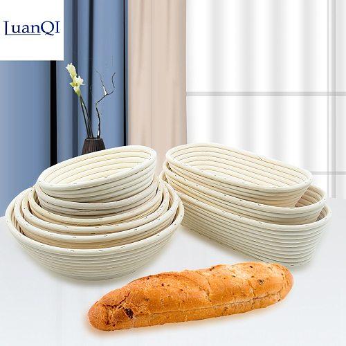 LuanQI Natural Rattan Bread Proofing Basket Round Oval Baking Cake Pot Fermentation Sourdough Eco-Friendly Banneton Bread Basket