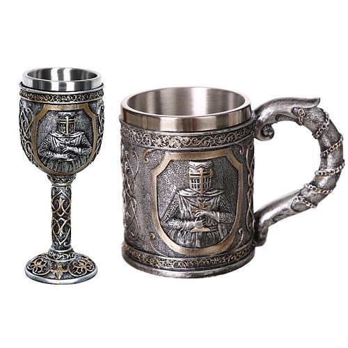 Medieval Templar Crusader Knight Mug Suit Of Armor Knight Of the Cross Beer Stein Tankard Coffee Cup