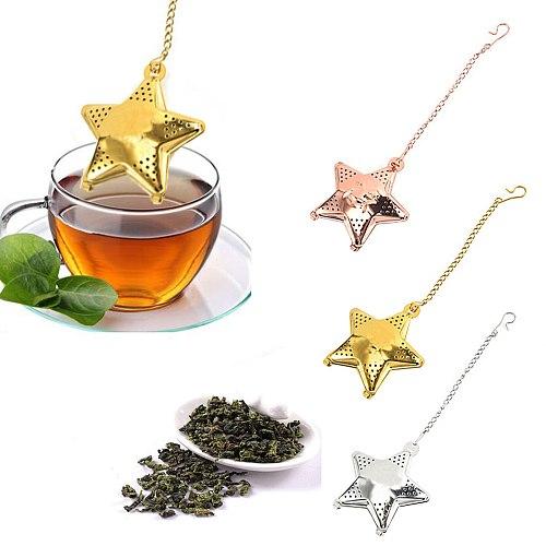 Tea Strainer Tea Set Star ShapePractical Snap Stainless Steel Mesh Tea Ball Infuser Tea Strainer High Temperature Resistance c50