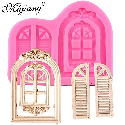 3D Door Window Silicone Mold Frame Cake Border Fondant Cake Decorating Cookie Baking Christmas Candy Chocolate Gumpaste Moulds