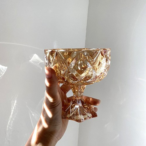 Ins Wind Crystal Glass Retro Amber Relief Goblet Salad Fruit Dessert Cup Yogurt Ice Cream Cup