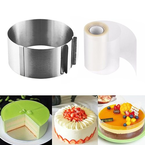 Retractable Stainless Steel Circle Foam Ring Cake Baking Tool Set Size Shape Adjustable Bakeware Silver For Kitchen Tools