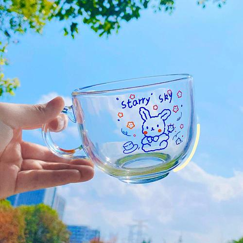Glass Cup Healthy Safe Portable Cartoon Glass Cute Rabbit Breakfast Cup for Home