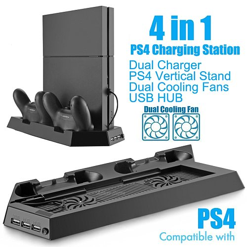 PS4 Console Vertical Stand 2 Controller Charger Charging Dock 2 Cooling Fan for Sony Playstation 4 Play Station 4 PS 4 Accessory