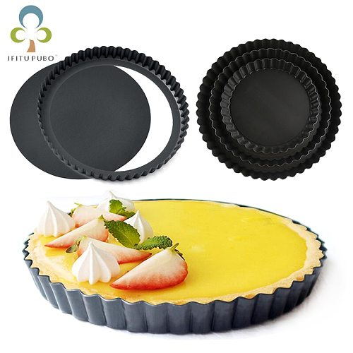Non-stick Round Tart Pan Quiche Pan with Removable Bottom Pie Pan Fluted Pie Rectangle Tart Pan Mold Baking Quiche Tool GYH