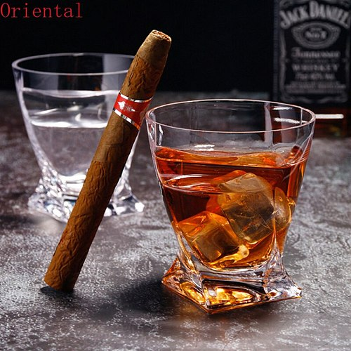 Thickened Crystal Cigar Cup Creative Rum Whisky Glass Drinking Imported wine juice drinking Lead-free glass cup Bar utensils