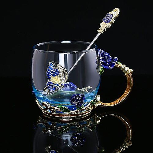 Red Blue Rose Enamel Crystal Tea Cup Coffee Mug Butterfly Rose Painted Flower Water Cups Clear Glass with Spoon Set Perfect Gift