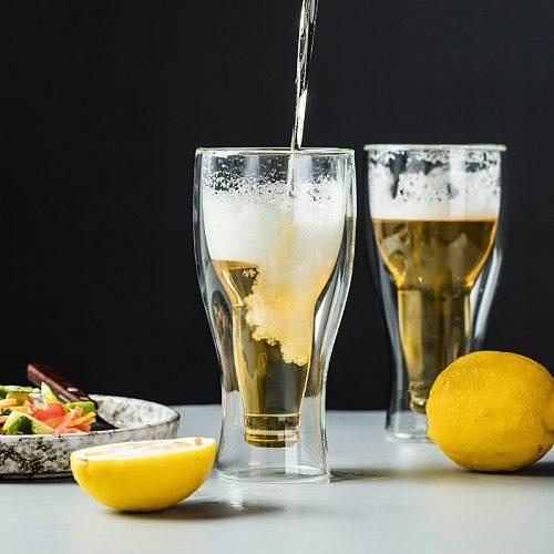Creative Borosilicate Double Wall Beer Glass Beer Cups 250ml 350ml 450ml Juice Beverage Glass Beer Cup Simple Design