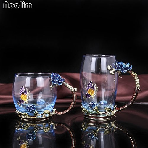 NOOLIM Creative Vintage Enamel Glass Cups Blue and Red Rose Handgrip Style with a Butterfly on the Body of the Glass