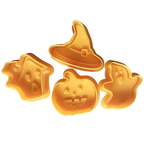 4Pcs Halloween Cookie Cutter 3D Stamp Cookie Biscuit Plunger Cutter Chocolate Baking Cutter Mould Kitchen Baking Tool