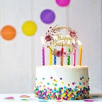 6pcs Wedding Christmas Decorating Supplies Happy Birthday Cake Topper Mirror Birthday Cake Insert Card Baking Decor