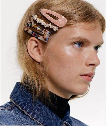 2021 Women Girls Acrylic Acetate Rectangle Headwear Hair Clips Tin Foil Sequins Hairpins Barrettes Headband Hair Accessories