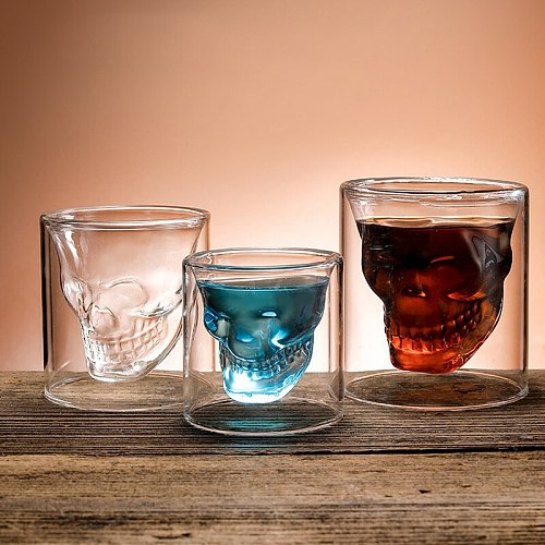 Coffee Mug Double-Layered Transparent Crystal Skull Head Glass Cup For Household Whiskey Wine Vodka Bar Club Beer