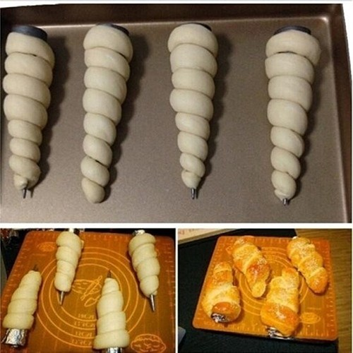 6pcs Pcs Conical Tube Cone Roll Moulds Spiral Croissants Molds Cream Horn Mould Pastry Mold Cookie Dessert Kitchen Baking Tool