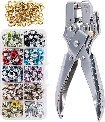 Multi-Color Grommets Kit 540 Sets 5mm, Metal Eyelets with Pieces Installation Tools for Craft Making, Repair and Decoration.
