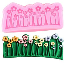 Grass Flower Cake Border Silicone Molds Cupcake Topper Fondant Cake Decorating Tools Chocolate Candy Clay Cookie Baking Moulds