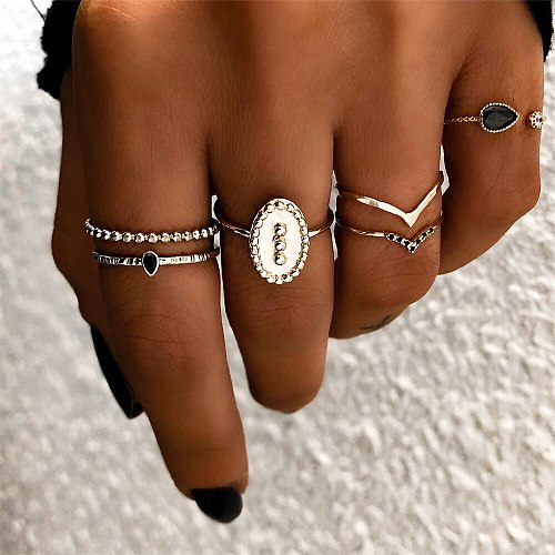 UMKA Simple and Stylish Inlaid Artificial Gem/Drop-Shaped Ring Set Gold Color Alloy Multi-Selection Ring Set Fashion Fingertips