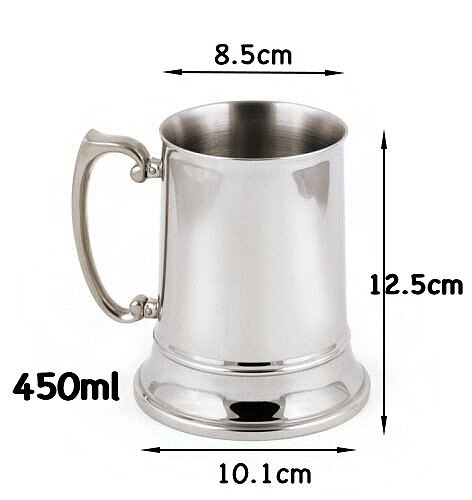 450ml Tankard Stein Double Wall Stainless Steel Beer Mug Cocktail Breakfast Milk Mugs with Handgrip Coffee  Cup Bar Tools