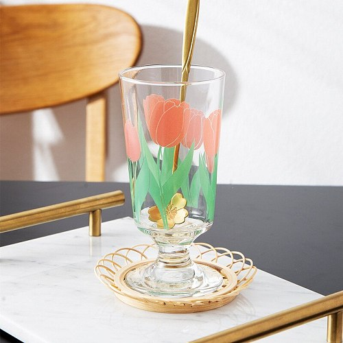 Phnom Penh Daisy Goblet Flower Tulip Glass Ins Net Red Short Red Wine Cup Glass Cups   Water Glass Cup  Wine Glasses