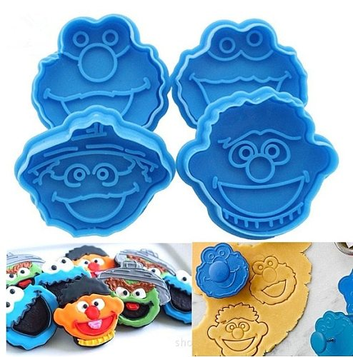 2019 new hot fashion 4PCS Children Muppet Cookie Cutter Plunger Biscuit Cake Fondant Elmo Ernie Monster Cakes Decorating