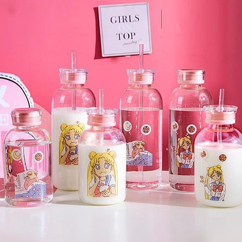 Cute Sailor Moon Drink Glass Bottles The Glass Drinking Bottle With Straw is Suitable for Adults and Children Milk Coffee Cup