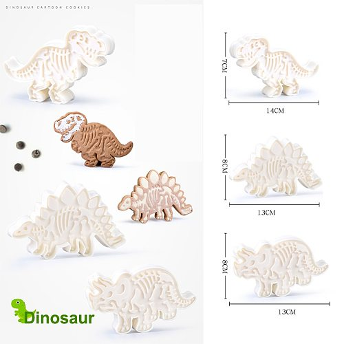 3D Dinosaur Cookie Cutters Mold Dinosaur Biscuit Embossing Mould Sugarcraft Dessert Baking Silicone Mold for Sop Cake Decor Tool