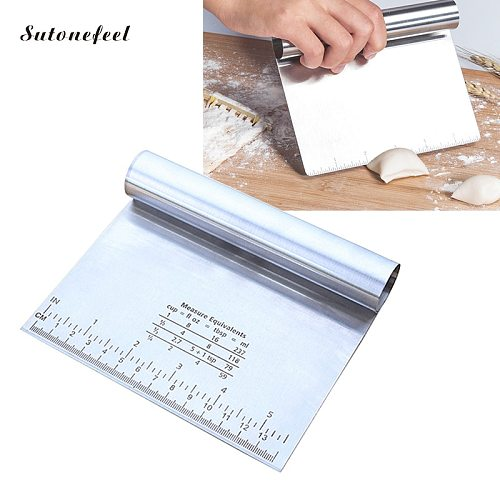 Stainless Steel Pastry Cutter with Measuring Guide Pizza Dough Scraper Baking Pastry Spatulas Bread Slicer Kitchen Accessories