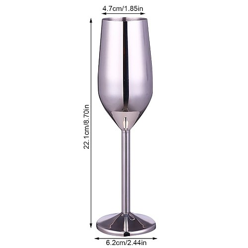 1 PC Stainless Steel Bar Cup Wine Glass 220ml Champagne Cup Metal Cocktai Goblet For Bar Restaurant Bar Accessories