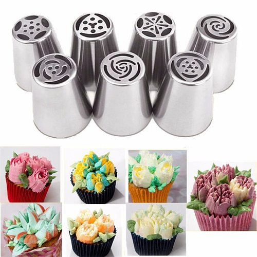 7Style Russian Tulip Icing Piping Nozzles Stainless Steel Flower Cream Pastry Tip Kitchen Cupcake Cake Decorating Tools