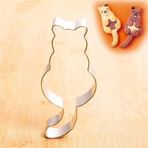 Hot 1PC Kitchen Cookie Cutter Cat Shaped Aluminium Mold Sugarcraft Cake Cookies Pastry Baking Cutter Mould Cake Decorating Tools