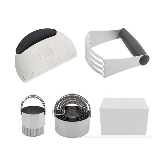Biscuit Cutter Set Stainless Steel Pastry Cutters 5 Round Cookie Cutter With Handle Dough Cutter Dough Blender Baking Pastry