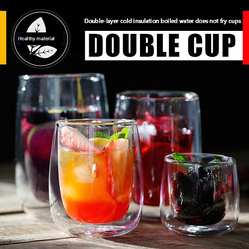 espresso tea milk cup Double transparent glass Heat insulation drinking glasses wine whisky beer cocktail stemless wine glass