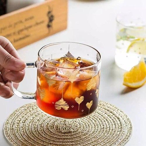 400ml Glass mug Creative Glass Cup Gold star Printed Heat-resistant Coffee Tea Drinks Breakfast Milk Cup Glass Mugs With Handle