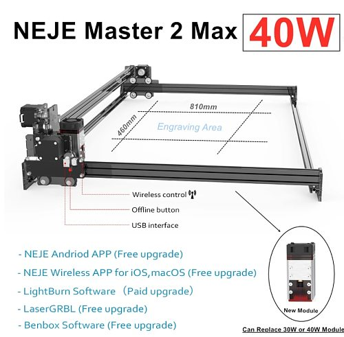 NEJE Master 2S Max 460 x 810 mm professional laser engraving machine, laser cutter - lightburn - bluetooth - app control