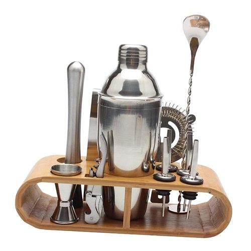 12pcs/set Cocktail Shaker Set, Stainless Steel Bartender Kit - Cocktail Strainer Set,Cocktail Muddler&Spoon,Measuring Jigger