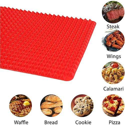 Large Red Pyramid Raised Cone Shaped Silicone Mat Baking and Roasting Superb Non-Stick Food Grade Silicone for Oven Grilling BBQ